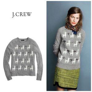 J. Crew Jeweled Llama Sweater
